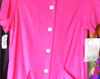SWIMSUIT BEACH COVERUP, vintage jacket, shirt, terry cloth, hot pink 70's, catalina, nordstrom