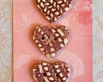 Handmade Ceramic Heart Buttons ( Set Of 3 ) Burgundy Color