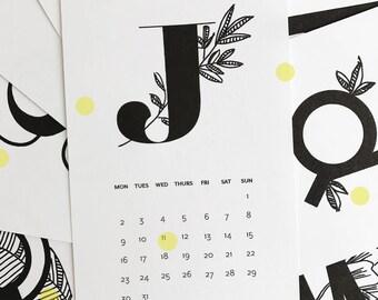 2018 Botanical Alphabet CALENDAR - 4x6 Calendar, 2018 Desk Calendar, 2018 Wall Calendar, Handdrawn Calendar, Floral Calendar, Type Calendar