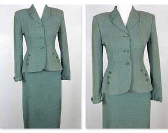 Vintage 1940s Women's Suit with Peplum / WWII Era Chic / Jacket, Skirt / Wool Rayon Blend  / Olive Green / Size Small