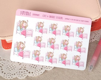 Kawaii Girl Decorative Stickers: Bedtime, time to wake up, sleeping ~Valerie~ For your Life Planner, Diary, Journal, Scrapbook...