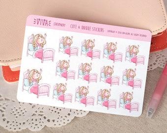 Kawaii autocollants décoratifs pour fille: le temps d'aller dormir ou de se lever du lit ~ Valerie ~ pour votre agenda, calendrier, Scrapbook, etc..
