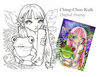 Green Frog Elf - Digital Stamp Instant Download / Fantasy Art by Ching-Chou Kuik