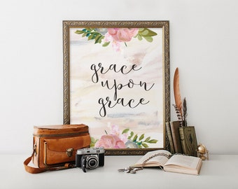 Christian wall art, Grace Upon Grace, Watercolor print art, Two Brushes Designs, Calligraphy quote, Bible verse print, Grace print BD-514