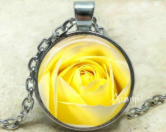 Yellow rose necklace, yellow rose pendant, rose necklace, rose pendant, mom pendant, mom necklace, yellow, Pendant #PL106P