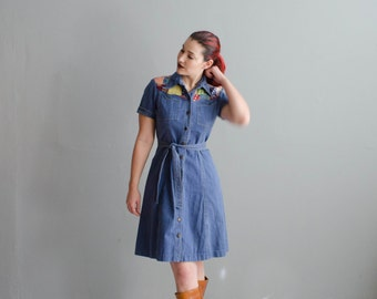 Vintage 1970s Denim Dress - Patchwork 70s Dress - Raleigh Durham Dress