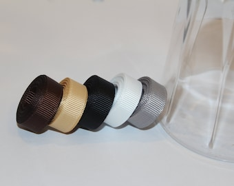 """3/8"""" (10mm) Grosgrain Ribbon 5 Yards (You choose the color:  Black, Dark Brown, Silver, Toffee, or White)"""