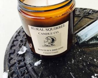 Winter's Breath (Eucalyptus & Lavender) Soy Candle Amber Jar 8OZ