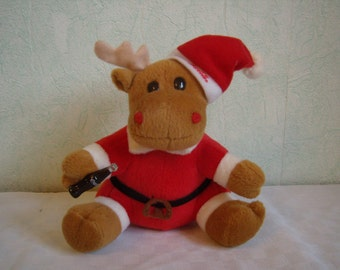 Vintage bear, plush, red reindeer-Santa plush toy, collection, Coca-Cola