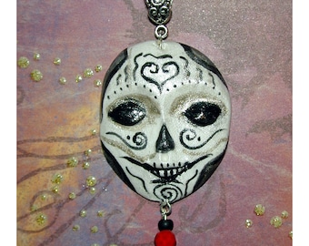 Day of the Dead Skull Girl Face Pendant perfect for Halloween