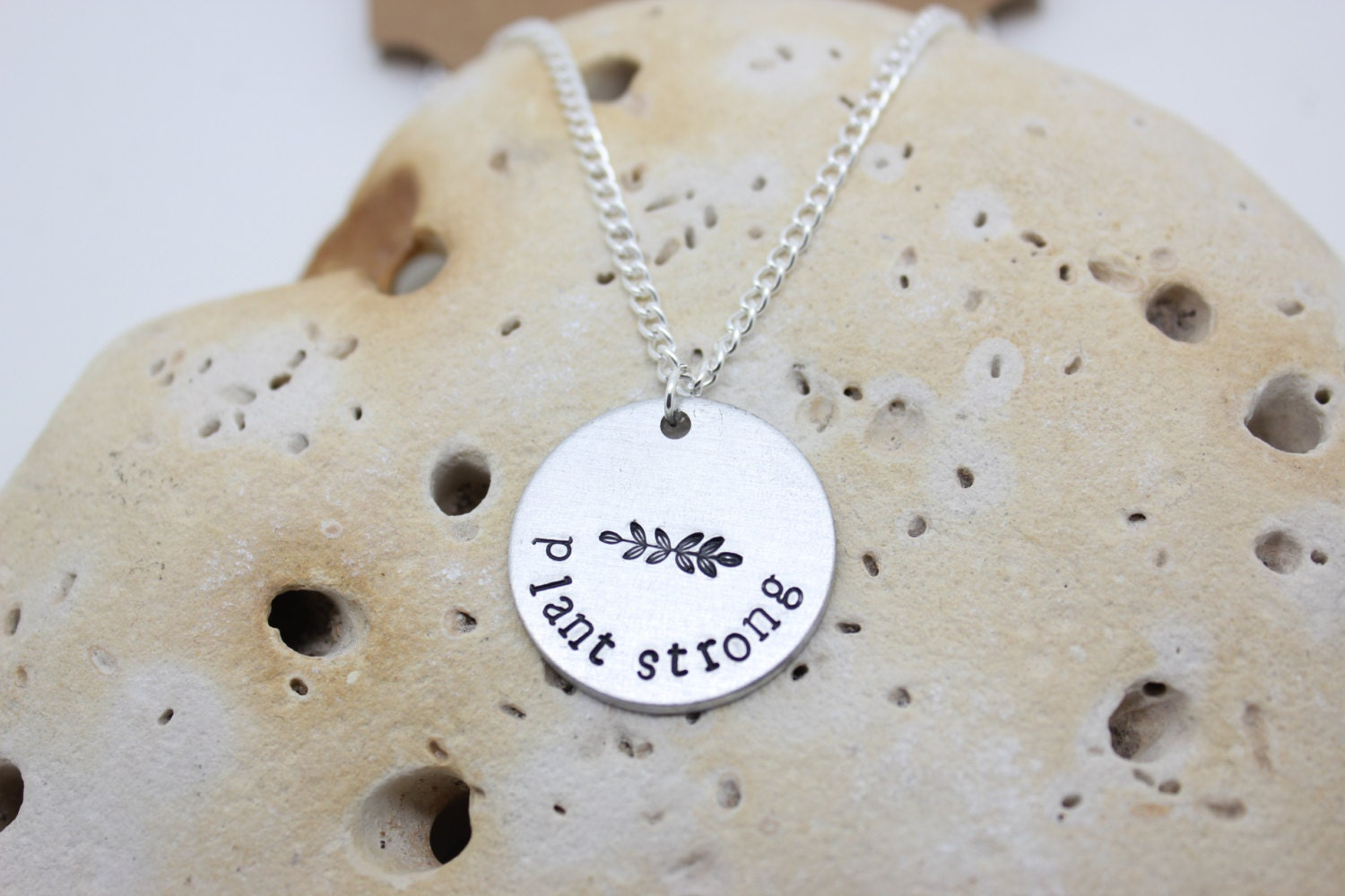 Vegan jewellery - vegan necklace - jewelry - plant strong - animal rights jewellery - handstamped 2.5cm pendant on 18
