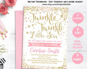 Twinkle Twinkle Little Star Baby Shower Invitation, Pink and Gold Invite, Gold Glitter, Editable invitation, Template, INSTANT DOWNLOAD