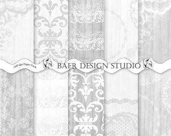 DIGITAL SCRAPBOOK PAPER:Gray Digital Paper, Wood and Lace Digital Paper, Gray Damask Digital Paper, Wedding Digital Paper, #14068