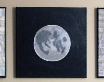 Lunar Phases - Acrylic Painting and Newspaper Collage