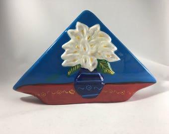 Vintage Calla Lily Napkin Holder -Flower Letter Holder Calla Lily Desk Accessory