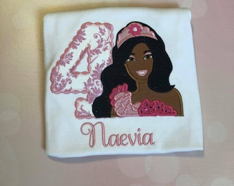 Personalized Birthday African American Princess Babs Doll Shirt
