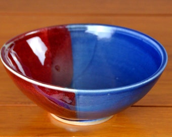 Blue Red Ceramic Serving Bowl, Hand Thrown Porcelain Pottery, Cereal, Soup, Salad, Mixing, Unique Gift Mom, Girlfriend   Caldwell Pottery