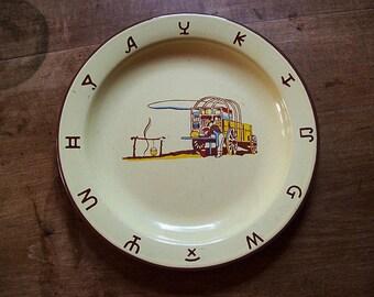 vintage Monterrey western ware cowboy enamel dinner plate 1950's rockabilly kitsch