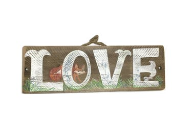 Woodland Love Sign-Personalize and Adopt This Original Art Item -Handmade on Reclaimed Wood Home Goods Home Decor OOAK Mangoseed
