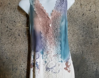 Lace Blouse With Dripping Water Colors