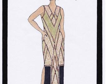 1930s Dress Pattern Art Deco Dress Annouk - PDF Sewing Pattern Size US20/UK24/DE50