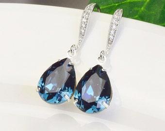 Navy Blue Earrings Bridal Swarovski Crystal Earrings Silver Bridesmaid Earrings Sapphire Wedding Jewelry Navy Earrings Bridesmaids Jewelry