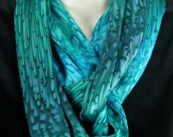 Teal/Turquoise Silk Infinity Scarf