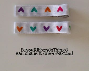 Colorful Hearts | Hair Clips for Girls | Toddler Barrette | Kids Hair Accessories | Grosgrain Ribbon | No Slip Grip