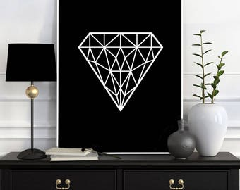 Geometric Diamond Print, Jewel Art, Geometric Diamond Poster, Print, Scandinavian Print, Black White Print, Home Decor, Printable Wall Art
