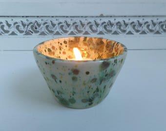 Green and White Glazed Ceramic Bowl/Tealight Holder