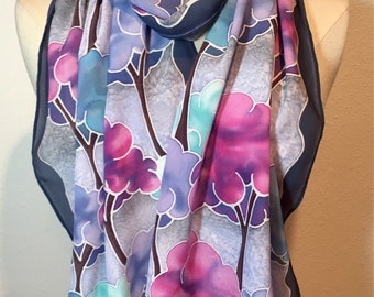 Cotton Candy Trees, watercolor magical forest, pink, blue and grey fluffy trees, hand painted silk crepe oblong scarf