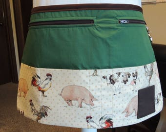Cute farm animal print vendor apron with green background