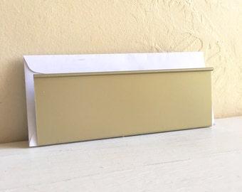 Gold Vintage Metal Mail Holder Desk Organizer Paper File