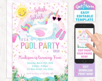 Unicorn Pool Party Invitation, Magical Birthday Invitation, Unicorn Editable Invitation, Edit With Your Phone id: UPBI_194