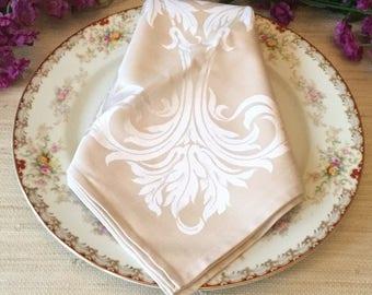 "4  Damask Linen Napkins UnUsed Cloth Dinner Napkin Set Vintage Table Linens 20""  Square Satiny Cotton Rayon Made in Japan"