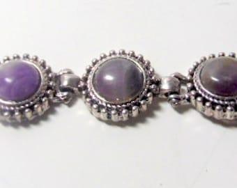 "Antique silver bracelet with 3 links and large amethyst colored stones/ beads.  7"". Vintage jewelry, vintage bracelets, purple  bracelet"