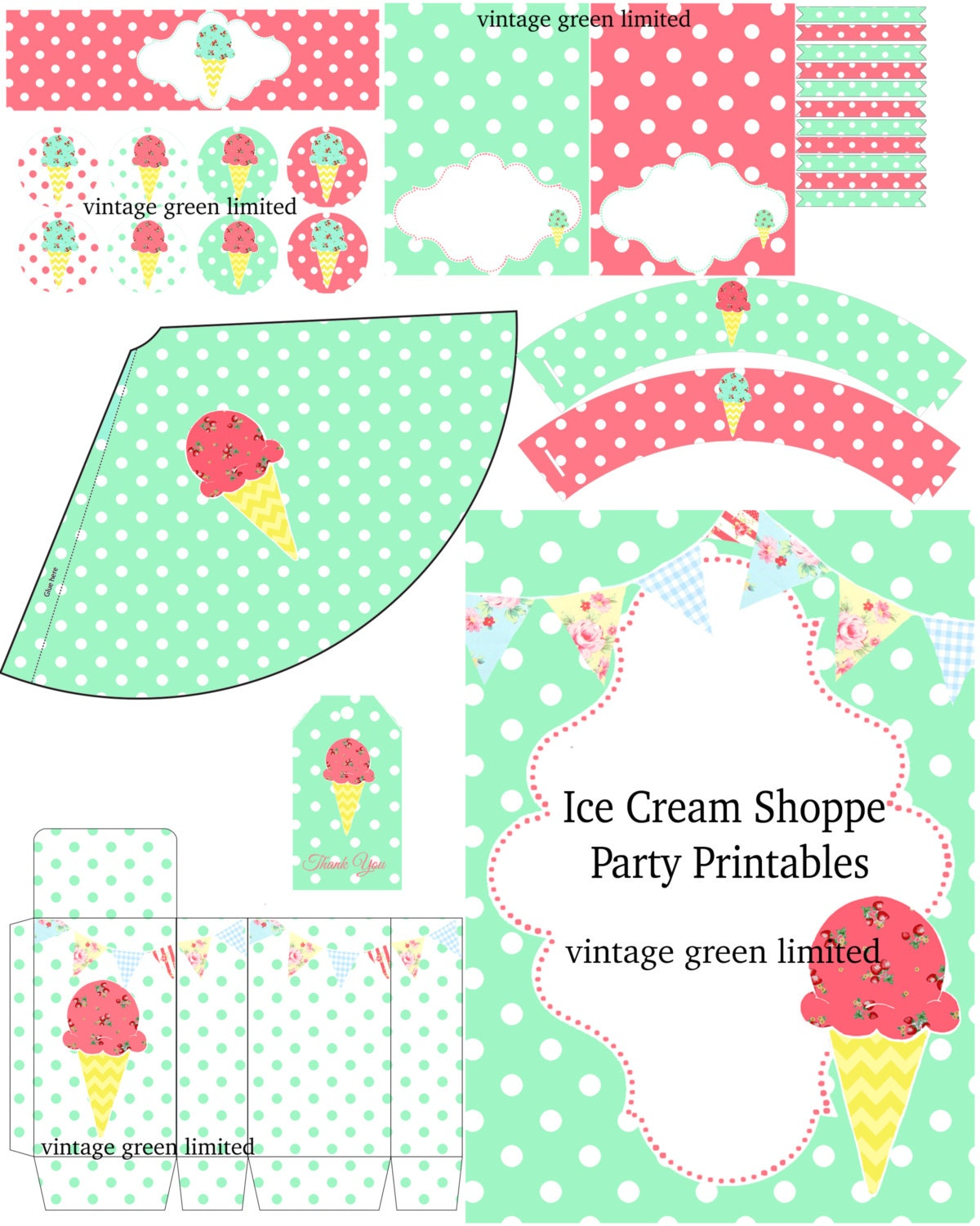Printable Ice Cream Birthday Party Invitation Cupcake