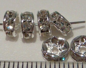 20 shiny silver-plated rhinestone rondelles 5mm