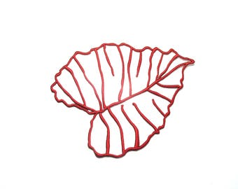 APPLIQUE EMBROIDERED RED TEXTURED VISCOSE THREAD LEAF SUPPORTS ALL WALLS AND TEXTILE INSIDE 14/16 CM