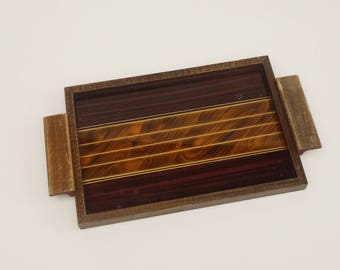 french mid-century Drinks Tray, Glass Modernist Pattern Cocktail Tray with Wooden Frame 1950's