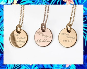 Personalized Jewelry, disc necklaces for women disc necklace with names Personalized necklace Gold, Rose Gold, Silver, Name Disc Necklace
