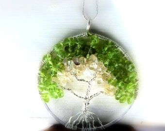 Tree of Life Necklace,  Peridot Necklace, Sentimental Tree of  Life Pendant, Family, Mother, Lineage, August Birthstone