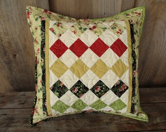 Quilted Pillow Cover Floral Decorative Cushion 16 inch Diamond Patchwork Throw Pillow Quilted Toss Pillow Yellow Black Gold Cotton Pillow