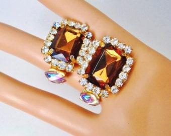 """Vintage Golden Chocolate Brown Crystal Rhinestones Earrings 1 1/2"""" Dangle Runway Retro Art Deco Bride Wedding Jewels Runway Statement"""