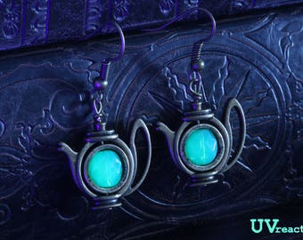 Teapot Earrings with mint green Uranium glass