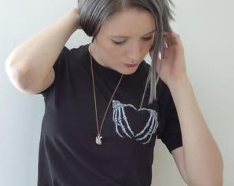 Skeleton Hand Heart Black T-shirt Gothic anatomical top