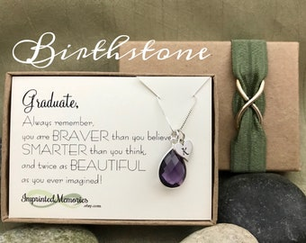 Graduation Gift For Her - High School Graduation Gifts for Girls - Class of 2018 GRADUATE - Sterling Silver Birthstone Necklace Personalized