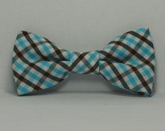 Aqua Blue and Brown Plaid Boy's Bow Tie, Children's Bowtie, Wedding, Baby Bowtie, Teen, Toddler, Brown and Blue Bowtie