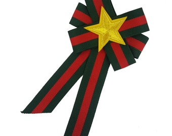 Striped Green Red Bow Tie Brooch with Gold Star, Bowknot Brooch, Bow Pin