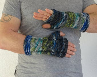 knit mens fingerless gloves, arm warmers, mens fingerless, wrist warmers, hand warmers, knit gloves, knit mittens, gloves, ready to ship
